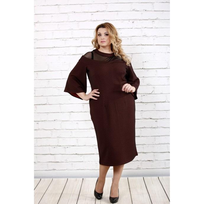Бордовое длинное платье ККК167-0731-3