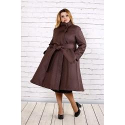 Коричневое стеганное пальто ККК165-t0693-2