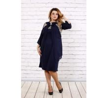 Синее нарядное платье с шифоном ККК1669-0709-1