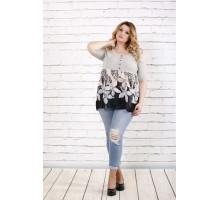 Серая блузка с цветами ККК1666-0690-1