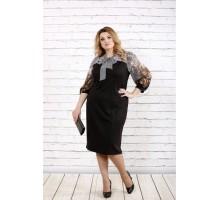 Черное платье с цветным шифоном ККК1643-0716-3