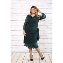 Зеленое платье ниже колена ККК1646-0715-3
