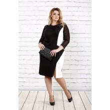 Черно-белое платье с рукавами из сетки ККК1621-0727-1