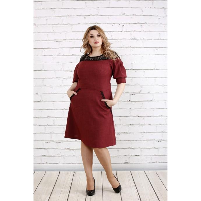 Бордовое льняное платье с кружевом ККК193-0773-2