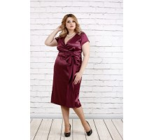 Бордовое атласное платье ККК1919-0768-1