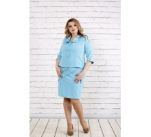 Строгий и нежный голубой костюм ККК1924-0766-1