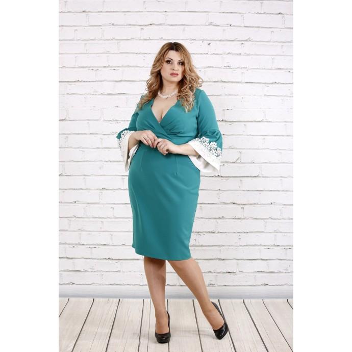 Бирюзовое стильное и нарядное платье ККК1935-0761-3