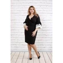 Черное платье с кружевом на рукавах ККК1937-0761-1