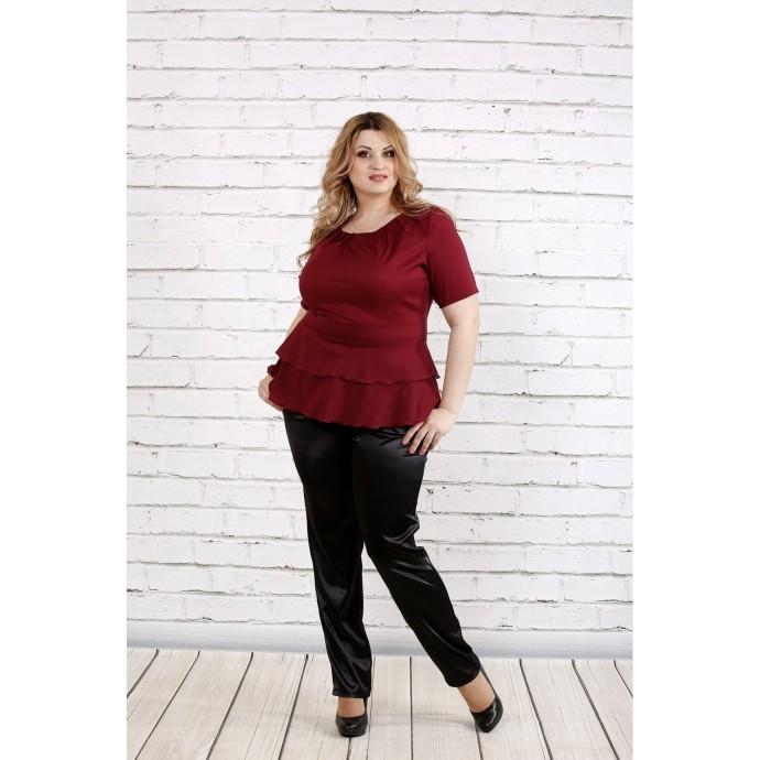 Бордовая блузка с коротким рукавом ККК1948-0757-2