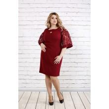 Бордовое платье с руковами из гипюра ККК1955-0755-1