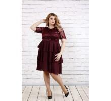 Платье с пышной юбкой марсал ККК1957-0754-2