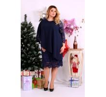 Красивейшее синее платье с гипюром ККК1149-0651-1