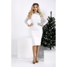 Нежное и воздушное бело-мятное платье ККК2012-0968-1