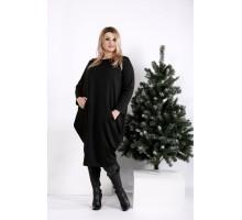 Черное свободное платье-мешок ККК203-0971-1