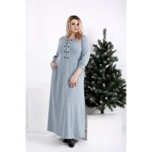 Бирюзовое длинное платье из ангоры ККК2022-0964-3
