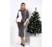 Серое полуприталенное платье ККК2026-0963-2