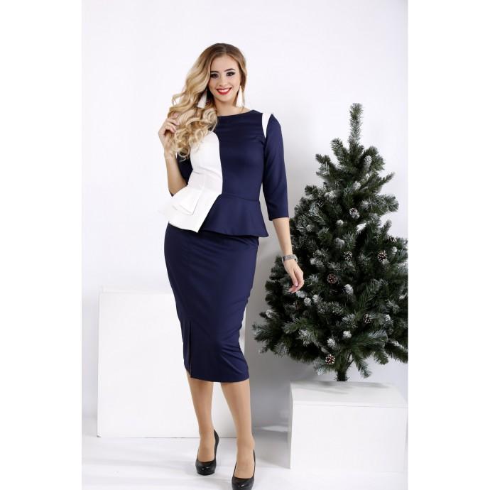 Синее строгое платье карандаш ККК2027-0963-1