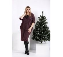Бордовое платье з ангоры ККК204-0970-3