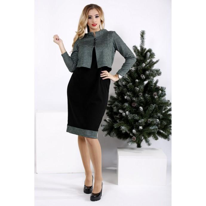 Черное с зеленым деловое платье ККК2033-0961-1
