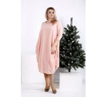 Пудровое платье-мешок ККК2035-0960-2