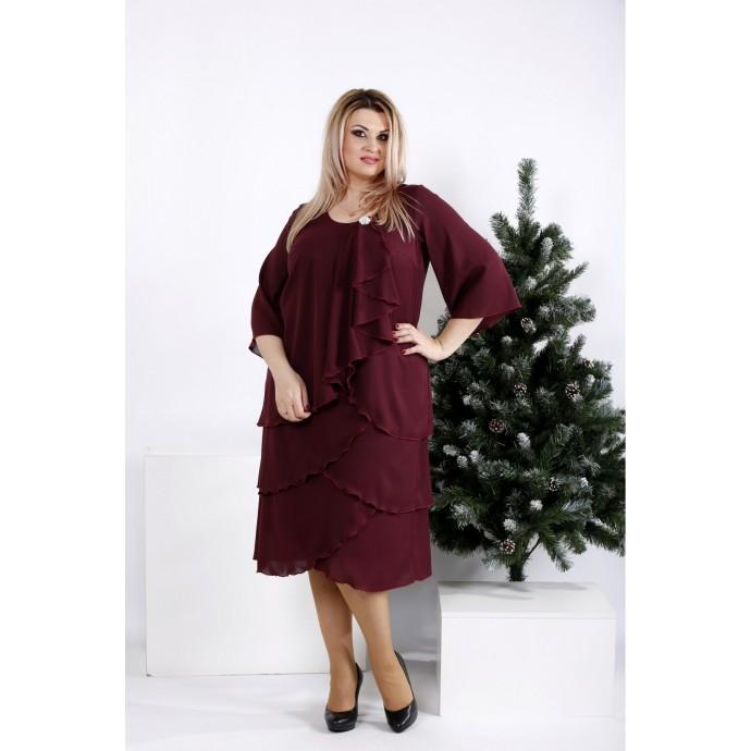 Бордовое свободное платье из креп-шифона ККК2037-0959-3