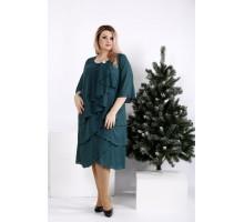 Зеленое платье свободного кроя ККК2038-0959-2