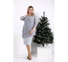 Серое платье из костюмки с шифоном ККК2046-0956-3
