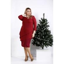 Бордовое платье из костюмки ККК2048-0956-1