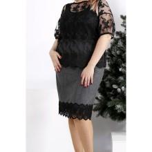 Серая юбка с кружевом ККК2055-0953-1