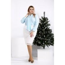 Голубая блузка из креп-шифона ККК2061-0951-1