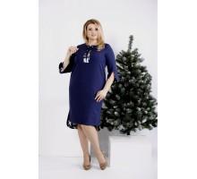 Синее платье до колена ККК20013-0992-2