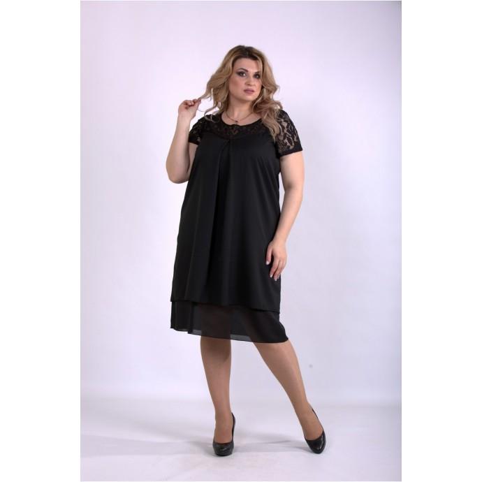 Черное летнее платье ККК33323-01158-2