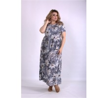 Платье с серым принтом в пол ККК33326-01157-2