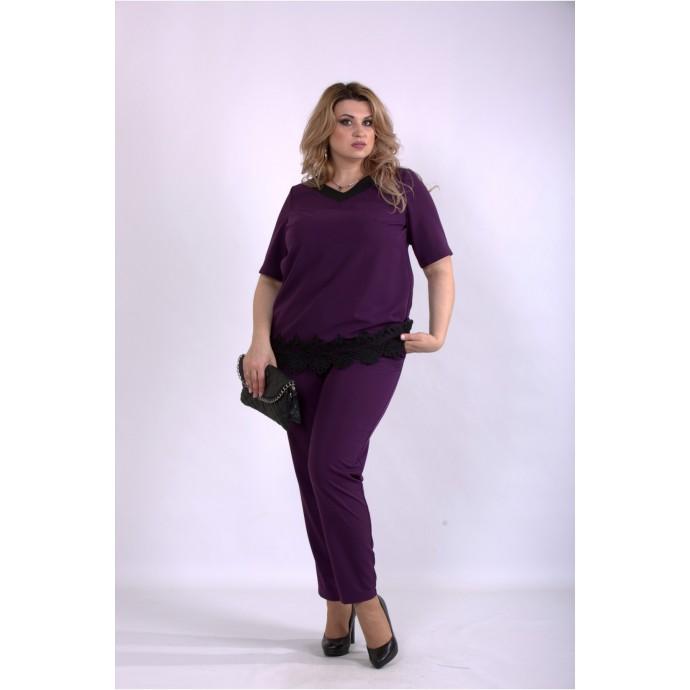Костюм штаны и блузка баклажан ККК33328-01156-3