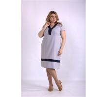 Серое платье из льна ККК33331-01155-3