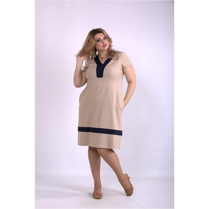 Бежевое легкое льняное платье ККК33332-01155-2