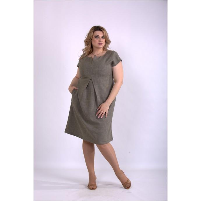 Горчичное платье лен-габардин ККК33335-01154-2