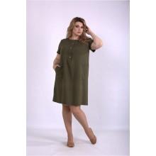 Льняное платье хаки ККК33337-01153-3