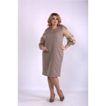 Бежевое элегантное платье ККК33340-01152-3