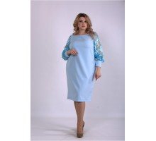 Голубое платье из костюмки ККК33342-01152-1