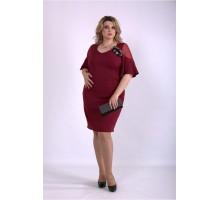 Красивое платье-футляр бордо ККК33346-01150-2
