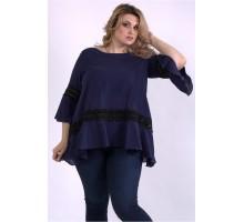Пышная темно-синяя блузка ККК33348-01149-3