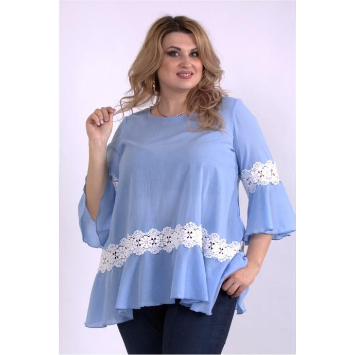 Голубая блузка с кружевом ККК33349-01149-2