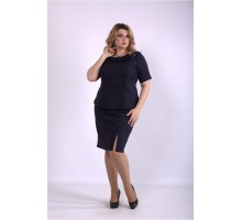 Темно-синий костюм юбка и блузка ККК33360-01145-3