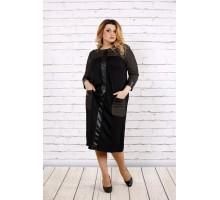 Трикотажное платье с вставками из эко-кожи ККК1720-0703-2