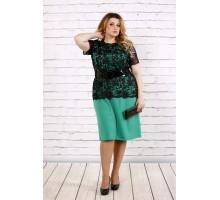Зеленое платье с поясом ККК1738-0697-2