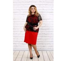 Алое платье с поясом в комплекте ККК1739-0697-1