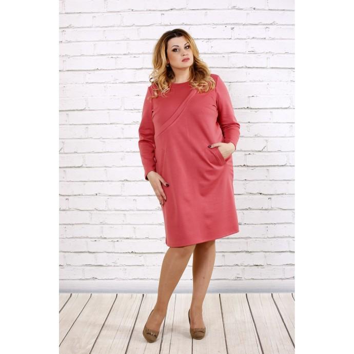 Нежное прямое платье цвета фрезия ККК175-0707-2
