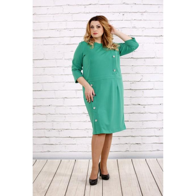 Платье зеленого цвета до колена ККК1745-0695-1