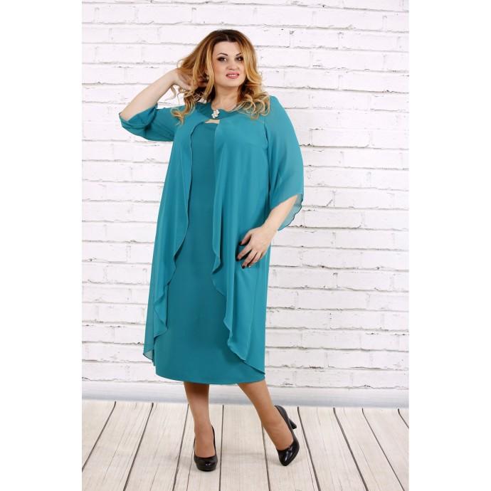 Бирюзовое платье ниже колена ККК171-0708-3